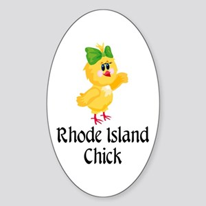 Rhode Island Chick Oval Sticker
