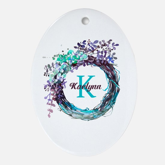 Boho Floral Wreath Monogram Oval Ornament