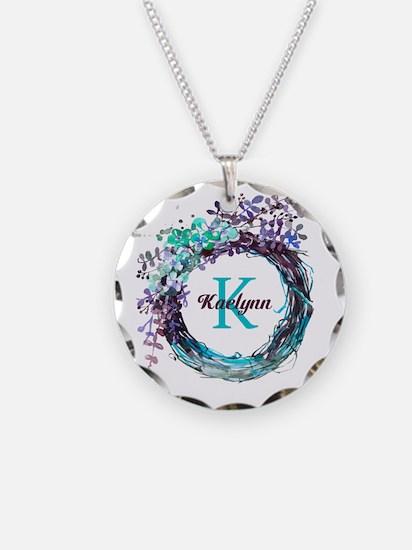 Boho Floral Wreath Monogram Necklace