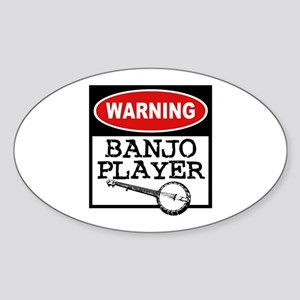 Warning Banjo Player Oval Sticker