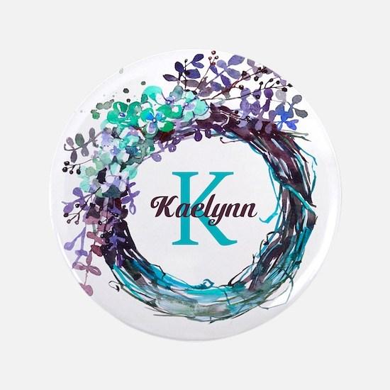 "Boho Floral Wreath Monogram 3.5"" Button (100 pack)"