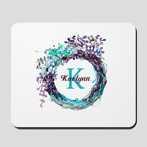 Boho Floral Wreath Monogram Mousepad