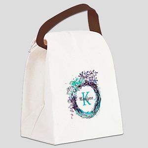 Boho Floral Wreath Monogram Canvas Lunch Bag
