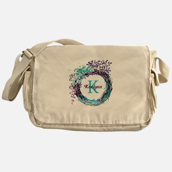 Boho Floral Wreath Monogram Messenger Bag
