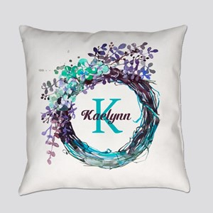 Boho Floral Wreath Monogram Everyday Pillow