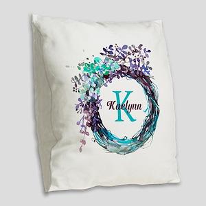 Boho Floral Wreath Monogram Burlap Throw Pillow