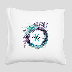 Boho Floral Wreath Monogram Square Canvas Pillow