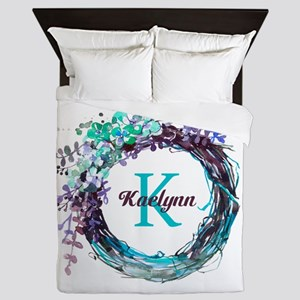 Boho Floral Wreath Monogram Queen Duvet