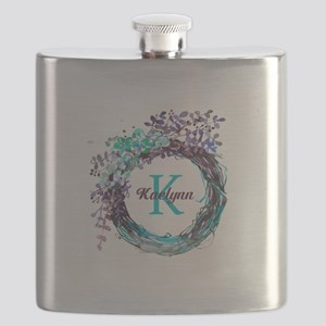 Boho Floral Wreath Monogram Flask
