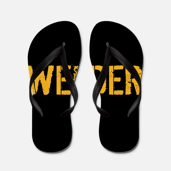 Welding: Stencil Welder (Black & Gold) Flip Flops
