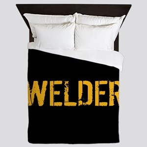Welding: Stencil Welder (Black & Gold) Queen Duvet