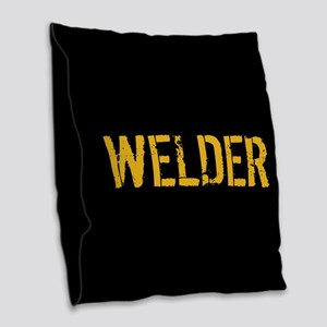 Welding: Stencil Welder (Black Burlap Throw Pillow