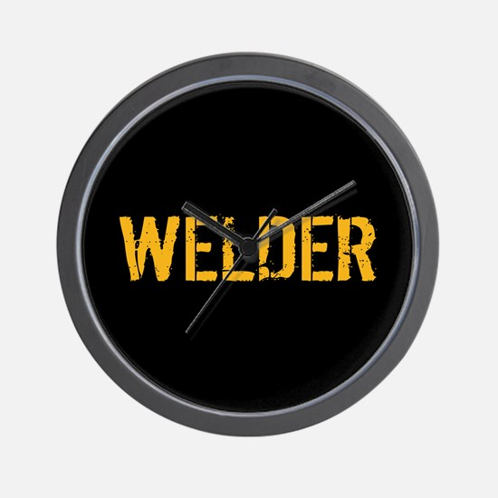 Welding: Stencil Welder (Black & Gold) Wall Clock
