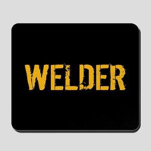 Welding: Stencil Welder (Black & Gold) Mousepad