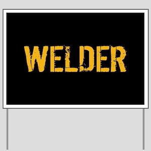 Welding: Stencil Welder (Black & Gold) Yard Sign