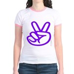 103. purple peace/ victory Jr. Ringer T-Shirt