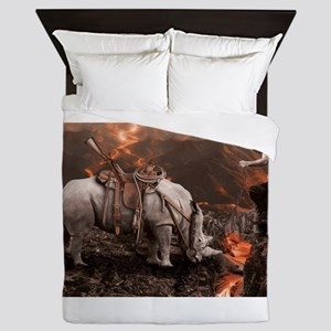 Rhino Rider on Volcano Queen Duvet