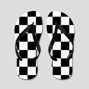 Black: Checkered Pattern Flip Flops