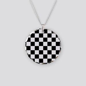 Black: Checkered Pattern Necklace Circle Charm