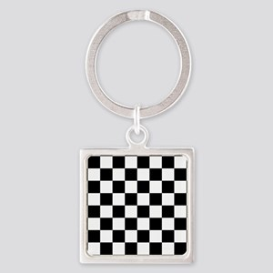 Black: Checkered Pattern Square Keychain