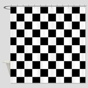 Black: Checkered Pattern Shower Curtain