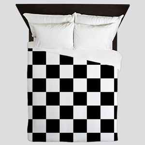 Black: Checkered Pattern Queen Duvet