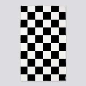 Black: Checkered Pattern Area Rug
