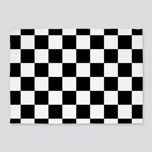 Black: Checkered Pattern 5'x7'Area Rug