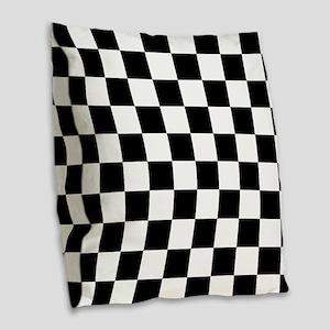 Black: Checkered Pattern Burlap Throw Pillow