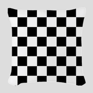 Black: Checkered Pattern Woven Throw Pillow