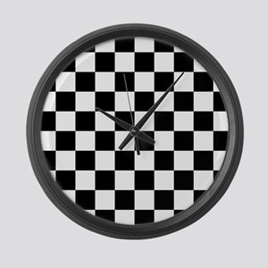 Black: Checkered Pattern Large Wall Clock