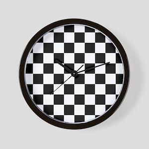 Black: Checkered Pattern Wall Clock