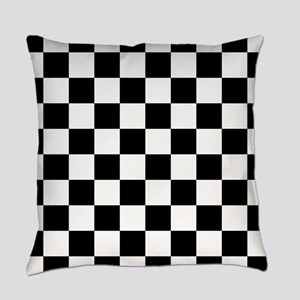 Black: Checkered Pattern Everyday Pillow