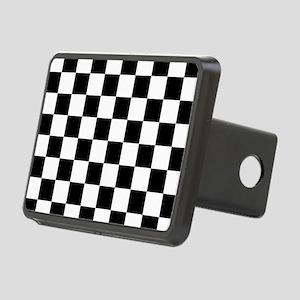 Black: Checkered Pattern Rectangular Hitch Cover