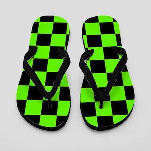Checkered Pattern: Black & Slime Green Flip Flops