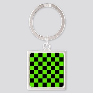 Checkered Pattern: Black & Slime G Square Keychain