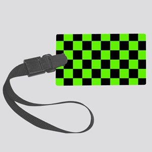 Checkered Pattern: Black & Slime Large Luggage Tag