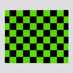Checkered Pattern: Black & Slime Gre Throw Blanket
