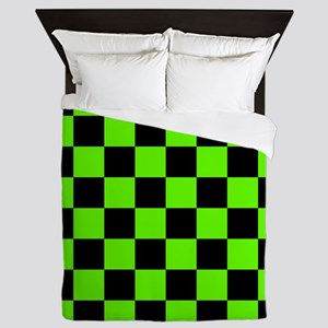 Checkered Pattern: Black & Slime Green Queen Duvet