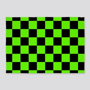 Checkered Pattern: Black & Slime Gr 5'x7'Area Rug