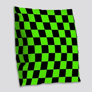 Checkered Pattern: Black & Sli Burlap Throw Pillow