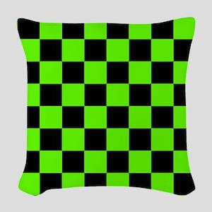 Checkered Pattern: Black & Sli Woven Throw Pillow