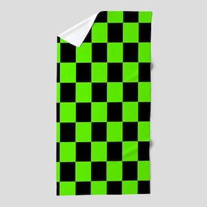 Checkered Pattern: Black & Slime Green Beach Towel