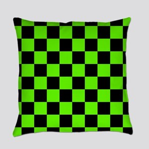 Checkered Pattern: Black & Slime G Everyday Pillow
