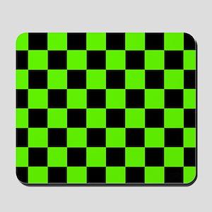 Checkered Pattern: Black & Slime Green Mousepad