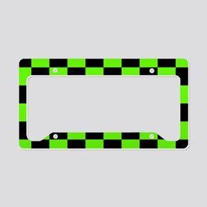 Checkered Pattern: Black & Sl License Plate Holder