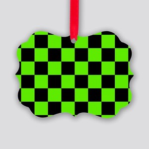 Checkered Pattern: Black & Slime Picture Ornament