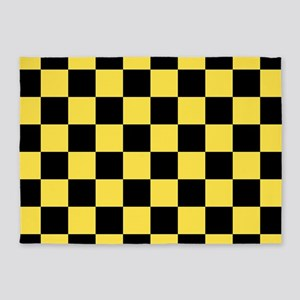 Checkered Pattern: Black & Taxi Yel 5'x7'Area Rug