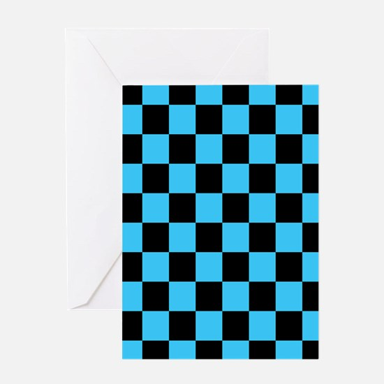 Checkered Pattern: Black & Cool Blue Greeting Card