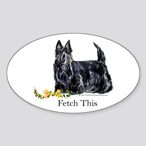 Scottish Terrier Holiday Dog Oval Sticker